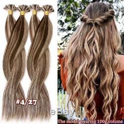 7a Pré Bonded U Nail Tip Kératine Remy Humain Brésilien 100% Des Extensions De Cheveux 1g Us