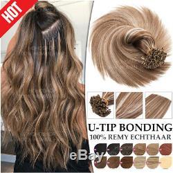 8a Fusion Kératine Balayage Par Bonded 100% Remy Hair Extensions Nail Human U-tip