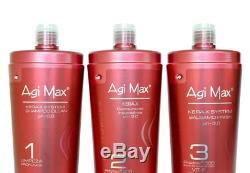 Agi Max Brésilien Kératine Du Traitement Kit 1 Litre 3 Étapes (3 X 1000 Ml)