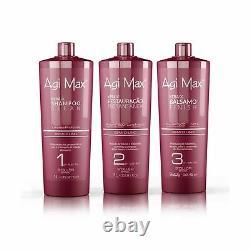 Agi Max Brésilien Kératine Kit De Traitement Capillaire 1 Litre 3 Étapes (3 X 1000ml)