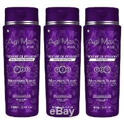 Agi Max Plus - Kit De Lissage Brésilien À La Kératine Et Aux Cheveux, 3 Étapes X500ml En Vente