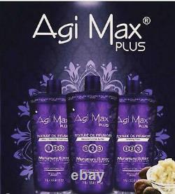 Agi Max Plus Nouveau Brésilien Keratin Cheveux / Straightening Kit 1 Lt 3 Étapes X 1000ml