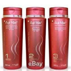 Agimax Kit De Lissage Kératine / Cheveux Brésilien 3 Étapes X500ml En Vente