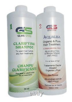 Aqualisa, Gems Style, Cheveux Lissage Brésilien Blowout Formaldéhyde Gratuit 34oz/1l