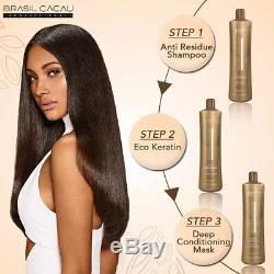 Brasil Cacau Traitement Eco À La Kératine Brésilienne Soufflage Des Cheveux Secs Kit 1l