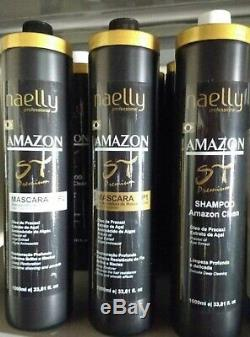 Brésilien Kératine Cheveux Streigh Blowout Protéines Amazom Haut De Gamme St 3x1000ml Naelly
