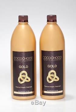 Cocochoco 2 Packs Gold Traitement De Défrisage À La Kératine Brésilienne 34oz Chacun