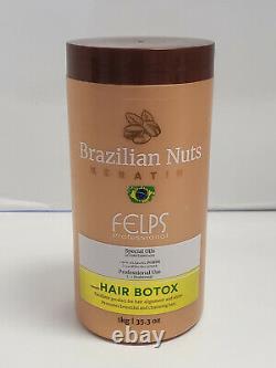 Felps Brésilian Noix Keratin Cheveux Botox Huiles Spéciales 35.3oz Utilisation Profesionnelle Nouveau