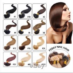 Fusion Kératine Pré-liée Bout D'ongle U Remy Prolongements De Cheveux Humains 8a Cheveux Brésiliens