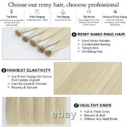 Kératine Nano Ring Tip Real Remy Human Hair Extensions Micro Beads Easy Link 1g/s