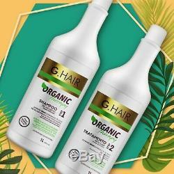 Kit De Traitement Biologique Pour Volume Thérapeutique G-hair 2x1litro Keratin Ghair Brésilien