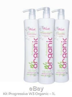 Lissage Brésilien Traitement Des Cheveux Wistt Kit W3 Organique, Anti-frizz 3x1l Lissage