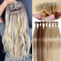 Long Remy Cheveux Humains Extensions Nano Anneau Perles Pré Bond Keratin Conseils Ombre E7