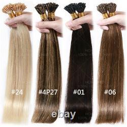 Micro I Tip Real Virgin Human Hair Extensions Pre-bonded Kératine 18 20 22 24