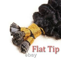 Pre Bonded Flat Tip Extensions De Cheveux Remy Loose Curly Keratin Fusion Cheveux Humains