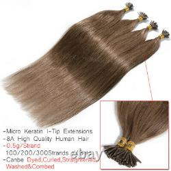 Pré Bonded Keratin Fusion Stick I-tip 100% Remy Human Hair Extensions 1g/s Perles