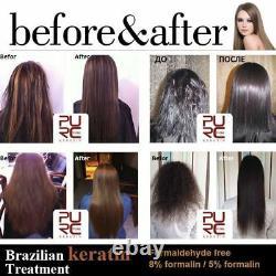 Pure Traitement Kératine Brésilien Ensemble Cheveux Endommagés Lissage 100ml X 4 Pcs