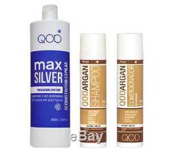 Qod Max Silver Kératine Brésilienne Lissage Cheveux 3- Kit 100% Formaldéhyde