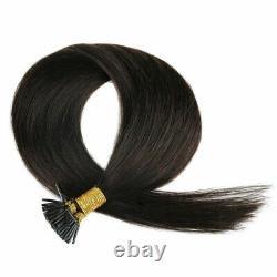 Stick Fusion Keratin Pré Bondé I-tip Remy Cheveux Humains Extensions Droit 100gr
