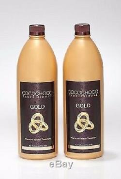 Traitement À La Kératine Brésilienne Cococohoco Gold, Cheveux Secs, Lissage, 2 Litres