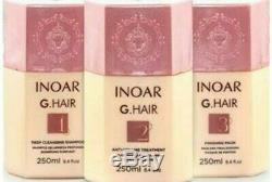 Traitement Brésilien À La Kératine Par Inoar G. Hair Kit De Défrisage Pour Cheveux Brushing 250 X 3