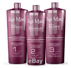Traitement Des Cheveux Brésilien Kératine Agi Max Semi DI Lino 3 X 1 Litre Redressage