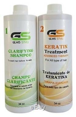 Traitement Kératine Brésilien Gems Style Sans Formaldéhyde Tous Les Types De Cheveux. 34 Oz