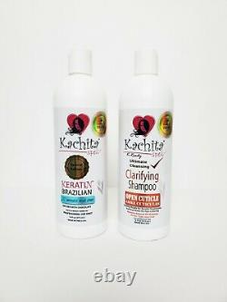 Traitement Original Brésilien De Kératine + Clarifier Shampooing Kachita Sortt Made In USA