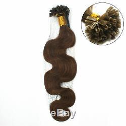 U 15-24 Nail Tip Pre Fusion Remy Kératine Bonded Vague De Corps Humain Extensions Cheveux