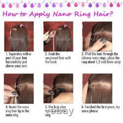 Us New Nano Ring Perles Human Hair Extensions Keratin Nano Conseils Ombre/highlight E